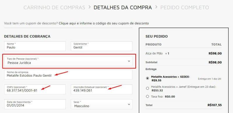 d0e5a967b2 Posso efetuar uma compra no site com CNPJ  - FAQ
