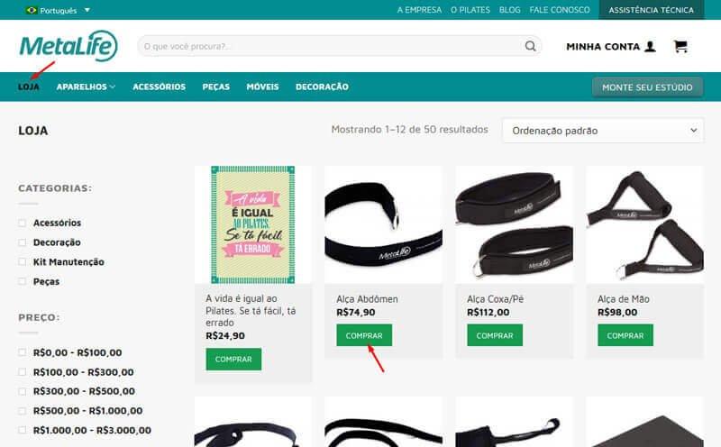 """a5bc93660 Você verá todos os produtos disponíveis para compra em nosso site. Clique  no botão """"COMPRAR"""" e adicione o produto ao carrinho."""